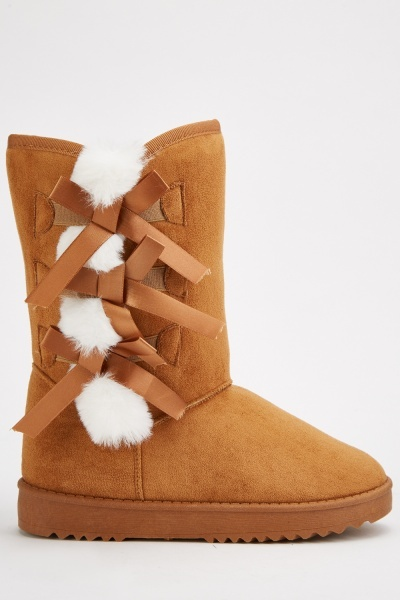 Ribbon Bow Side Winter Boots