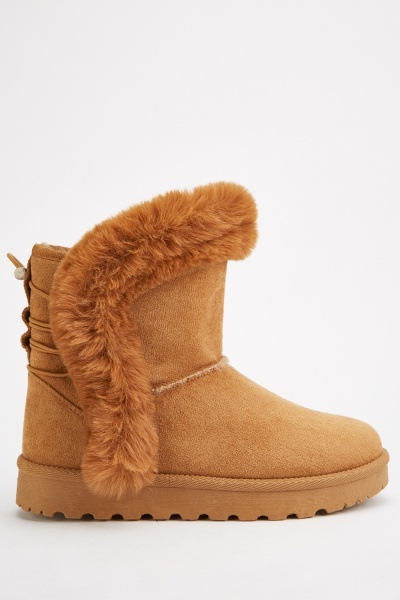 Suedette Fur Trim Winter Boots