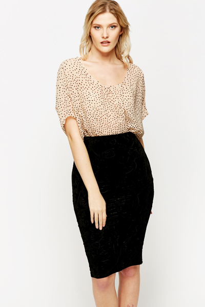 Dotted Batwing Blouse