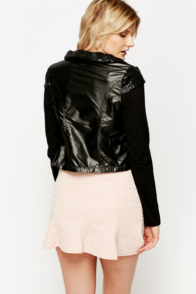 Sequin Frill Trim Jacket