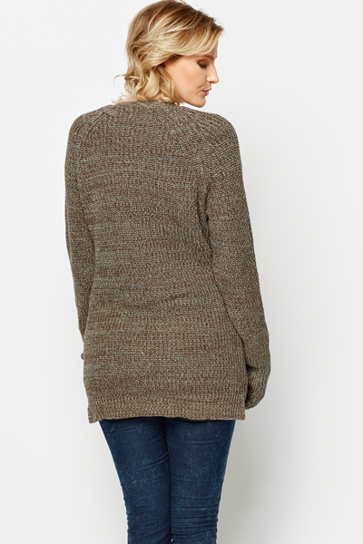 Open Front Speckle Cardigan