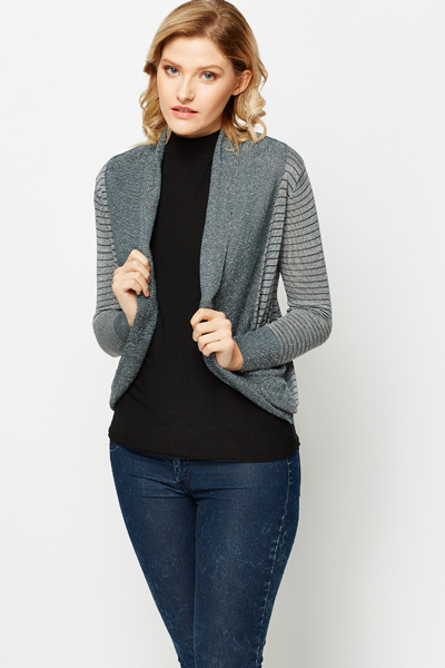 Metallic Rib Striped Cardigan