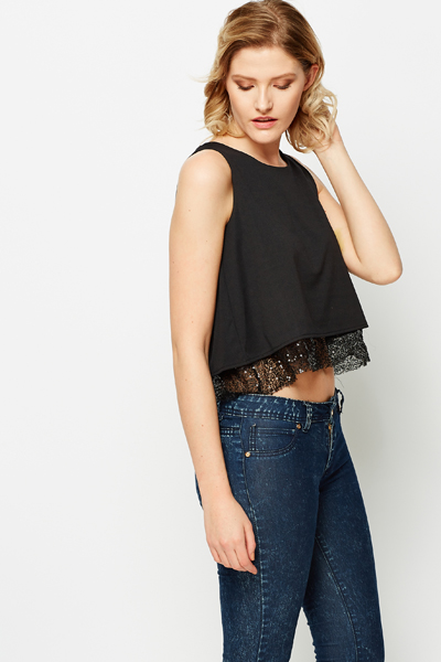 Sequin Trim Vest Top