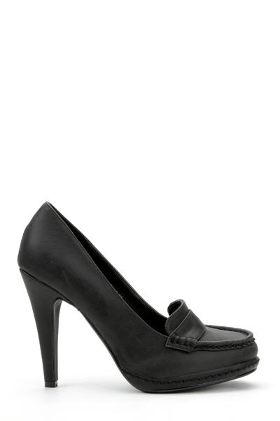 Faux Leather Loafer Heel Shoes