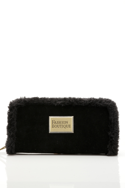 Faux Fur Trim Black Purse