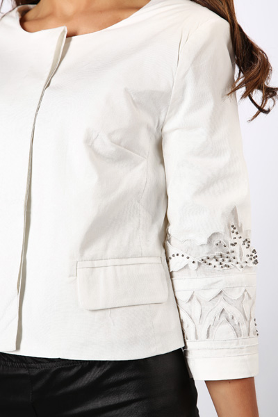 Beaded Mesh Sleeve Jacket