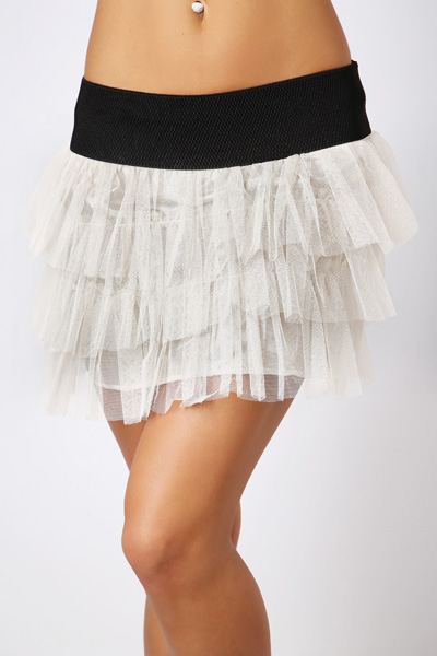 Lace Tier Mini Skirt