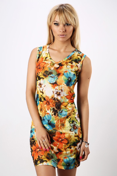 Metallic Floral V-Neck Dress