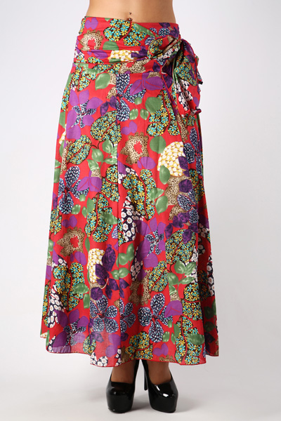 Side Tie-Up Floral Maxi Skirt
