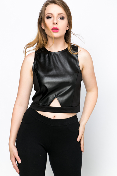 Cut-Out Faux Leather Crop Top