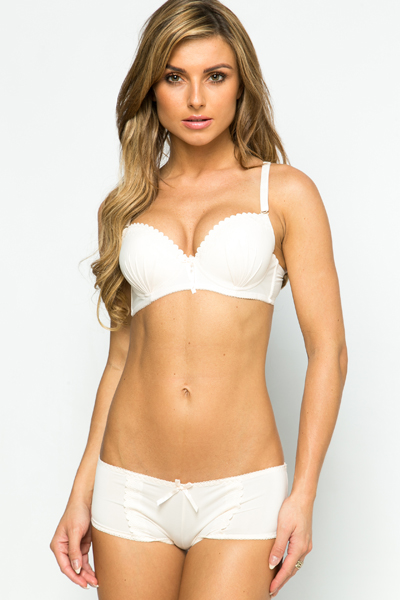 Pleat & Embossed Trim Bra & Brief Set