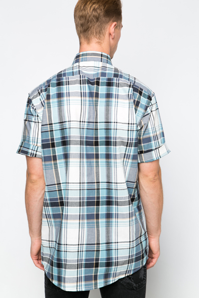 Light Blue Cotton Check Shirt