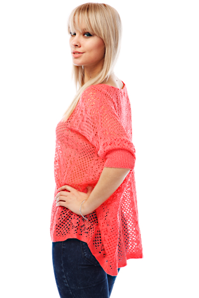 Vertical Crochet Knit Slouchy Pullover