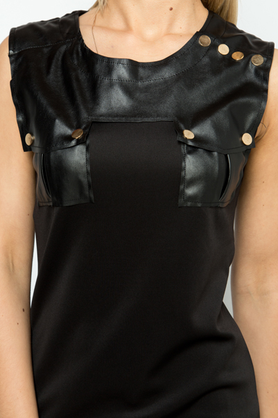 Faux Leather & Button Embellished Dress