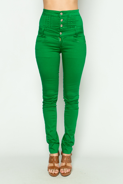 High Waist Green Trousers