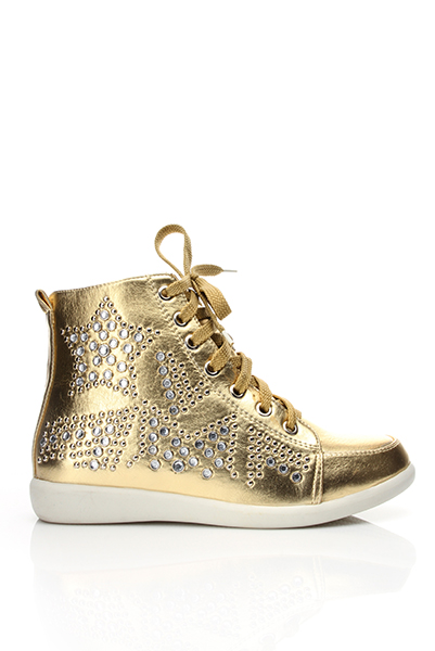 Rhinestone Studs Embellished Golden Trainers