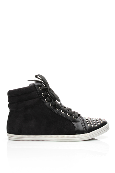 Studded Toe Cap & Padded Collar Suedette Boots