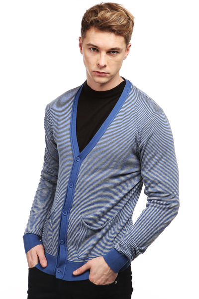 Slouch Pocket Striped Cardigan