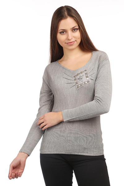 Embellished Patch Knit Top