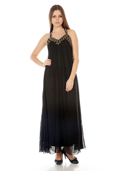 Beaded Neck Racer Back Maxi Dress
