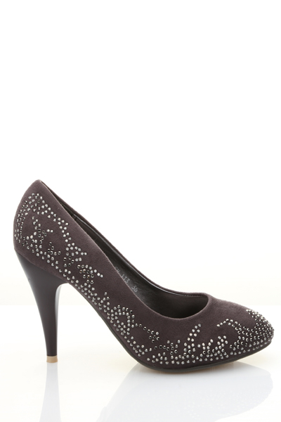 Encrusted Pattern Suedette Court Shoes
