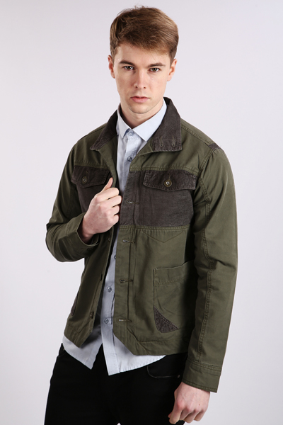 Contrast Cotton Military Jacket