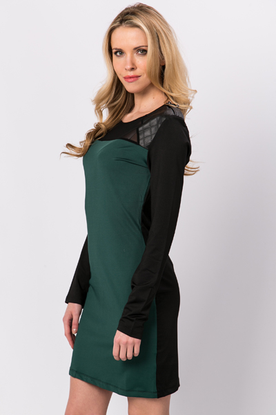 Faux Leather Quilted Shoulder Dress