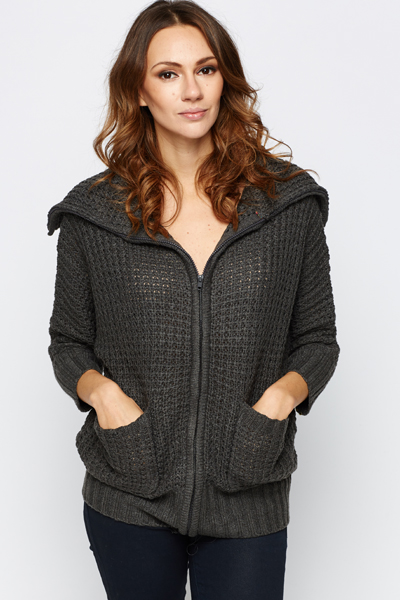Chunky Zip Perforated Cardigan