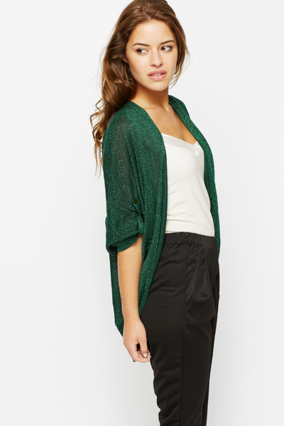 Metallic Knit Batwing Cardigan