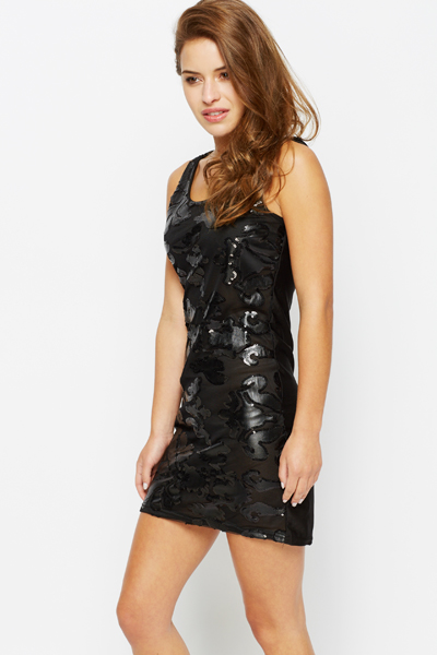 Faux Leather Embossed Mesh Sequin Dress