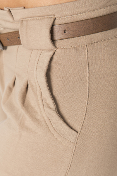 Belt Detail Camel Trousers