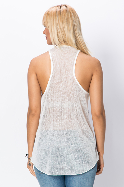 Mesh & Embroidered Letter Slogan Vest