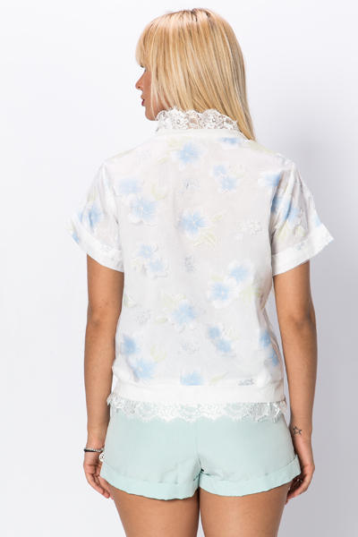 Lace Trim Flower Top