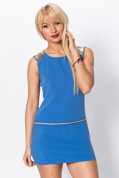 Embellished Shoulder Zip Waist Dress