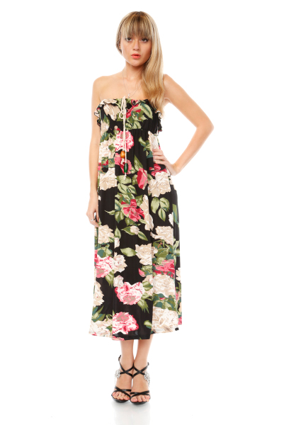 Frilled & Drawstring Top Maxi Dress