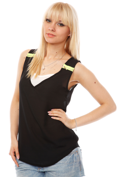 Neon Zips Shoulders Top