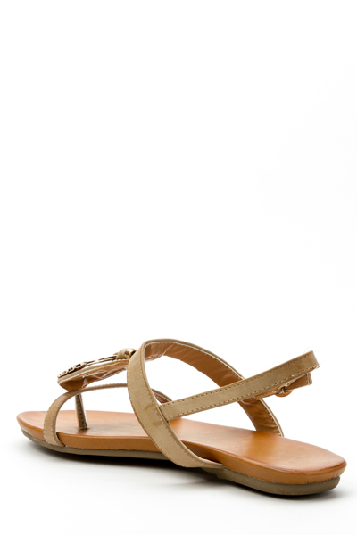 Diamante Encrusted Metal Strap Flat Sandals