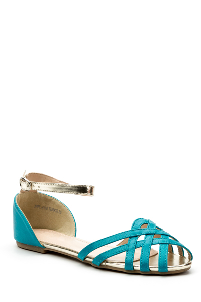 Criss Cross Peep Toe Flat Sandals