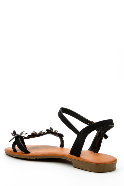 Diamante Encrusted Floral Strap Sandals