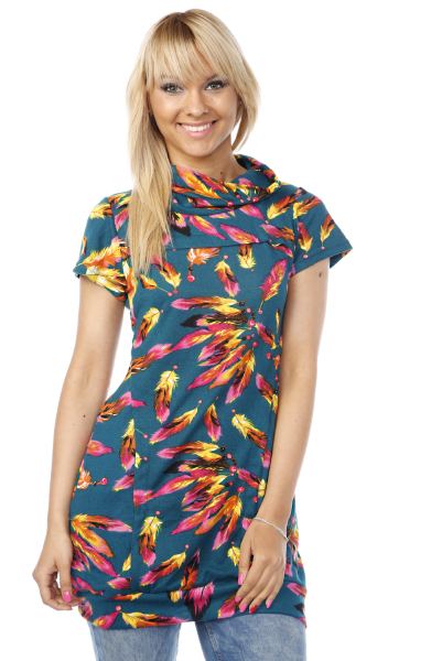 Feather Print Fleece Dress