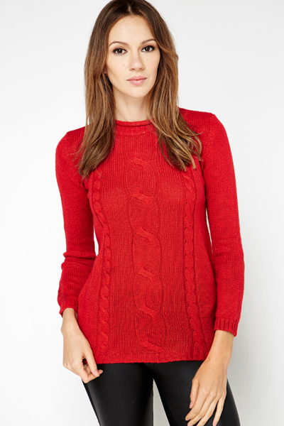 Cable Knit Longline Jumper