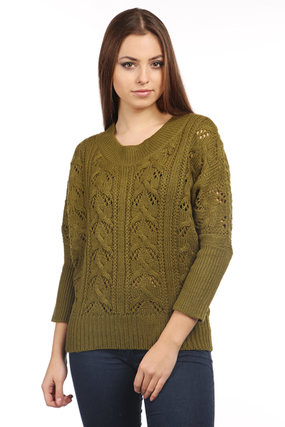 Eyelet & Lace Batwing Jumper