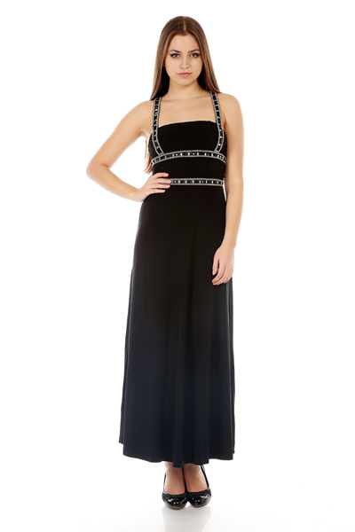 Embellished Ruched Evening Gown