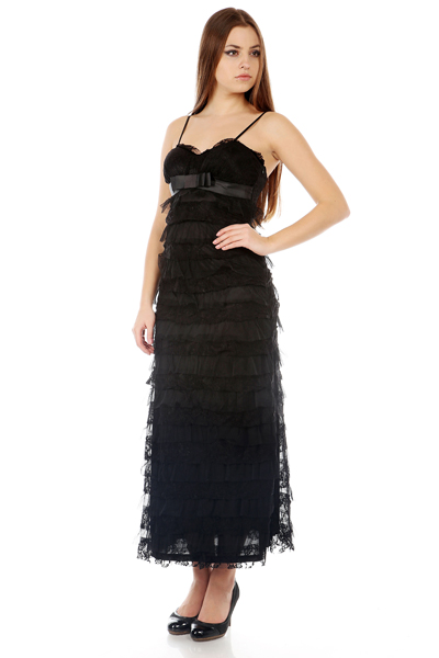 Bow Front Lace Maxi Dress