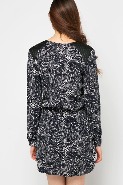 Quilted Shoulder Tribal Tunic Dress