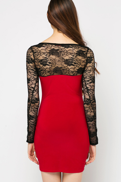 Cut-Out Front Lace Insert Dress