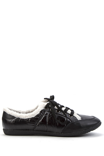 Faux Fur Trim Padded Trainers
