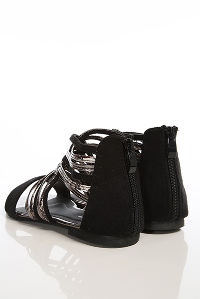 Metal Shimmer Crossed Straps Sandals