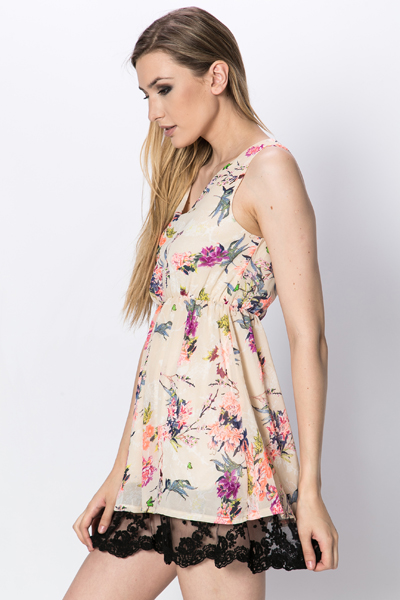Lace Hem Floral Skater Dress