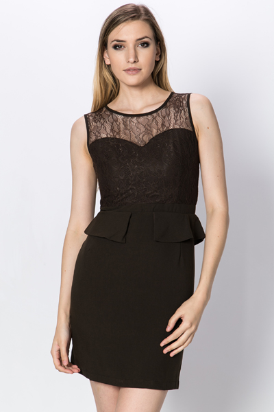 Lace Insert Peplum Dress